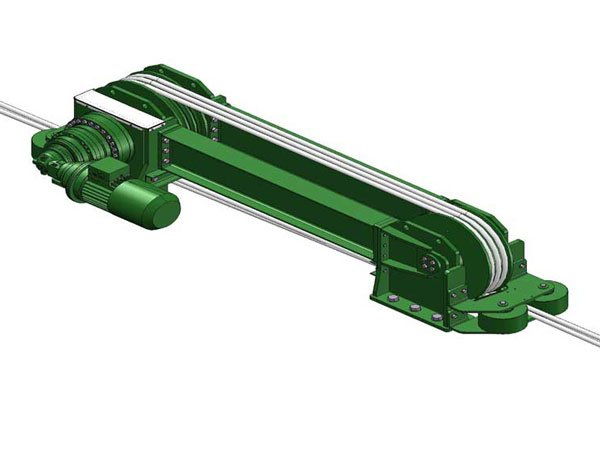 CAD drawing of an electric traction winch from winch manufacturer Dromec