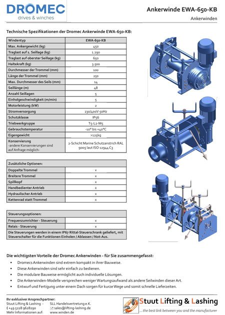 Data sheet for the electric anchor winch EWA-650-KB from Dromec