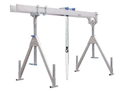 schilling gerätebau e.k., alu-crane, aluminum crane, portable, flexible crane system, double girder, beam, carrier, lifting solution, stuut lifting lashing