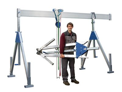 Example of a mobile aluminum crane in single beam design from Schilling Gerätebau