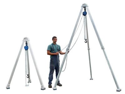 Example of a height-adjustable tripod manufactured by Schilling Gerätebau