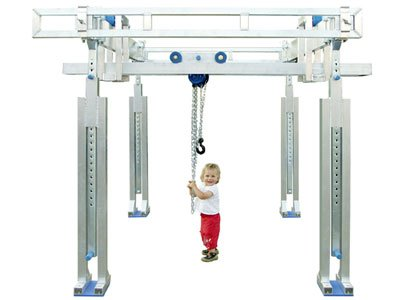 Example of a very flexible aluminum gantry crane system of the German manufacturer Schilling Gerätebau