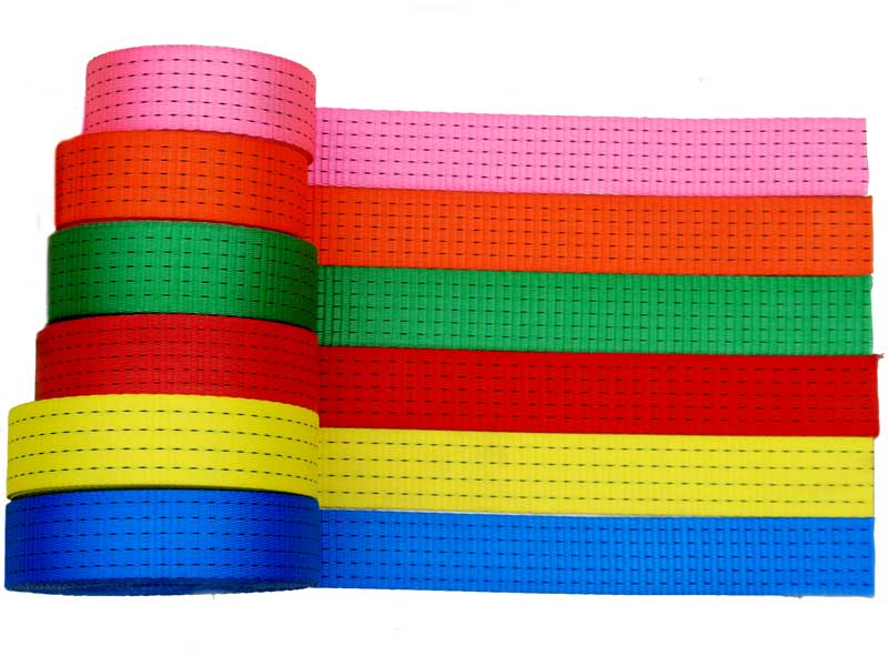Various polyester webbings for lashing straps, lifting and round slings by the Chinese manufacturer Miao Run Sen