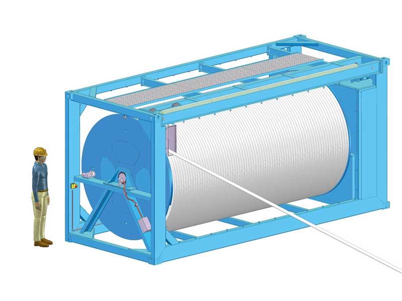 Entwurfszeichnung der Dromec Streamerwinde im Auftrag von AWI
