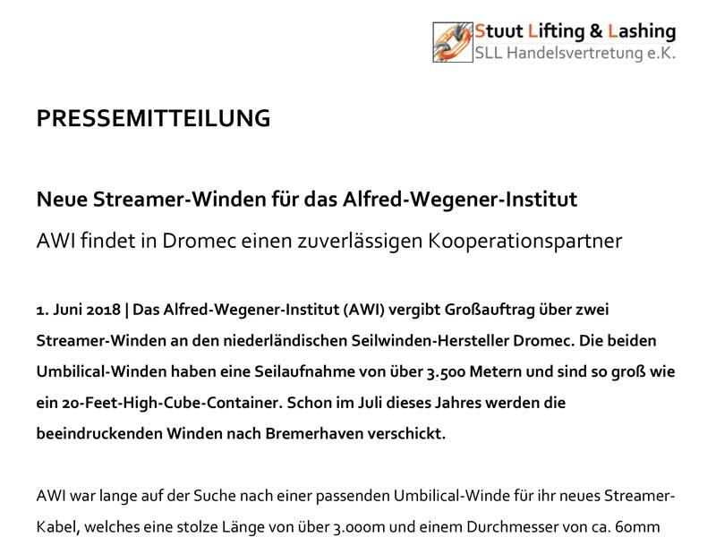 Pressemitteilung über die Dromec Streamerwinden für das Alfred-Wegener-Institut Bremerhaven