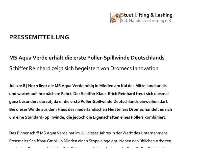 Pressemitteilung über die erste Dromec Poller-Spillwinde in Deutschland