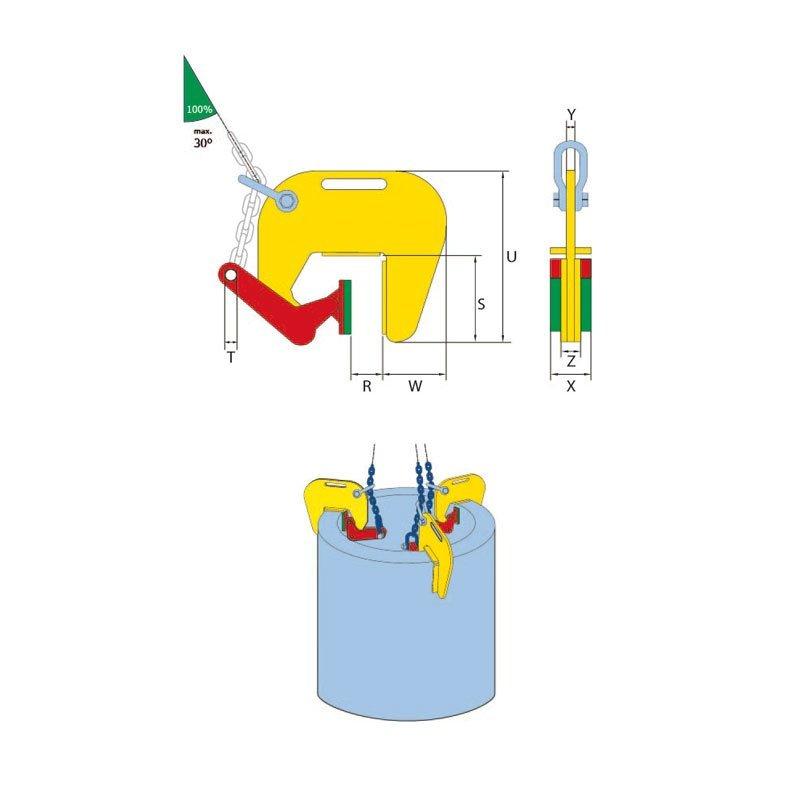 Skizze von Hebeklemme für Rohre TBC