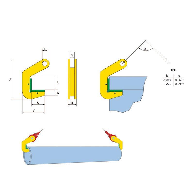 Skizze von Hebeklemme für Rohre TPH