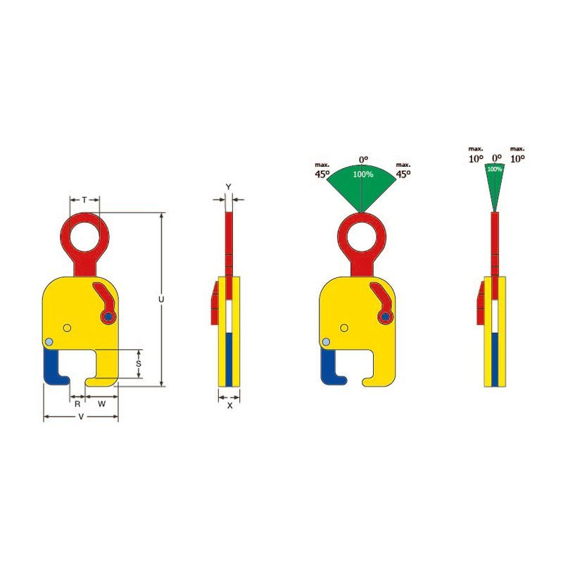 Sketch of special lifting clamp TRC for rail tracks