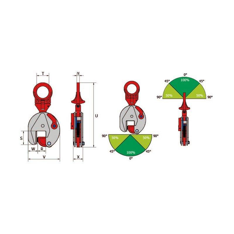 Sketch for vertical lifting clamps TS-R / TSE-R / TSU-R / TSEU-R