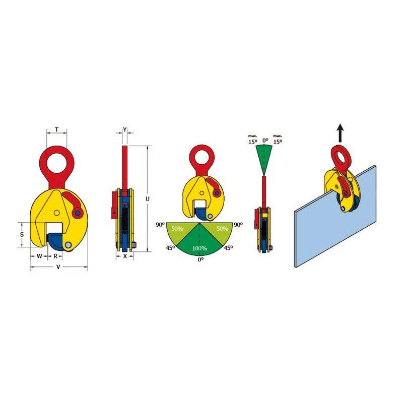Skizze zu den Vertikal Hebeklemmen TS / TSE / STS