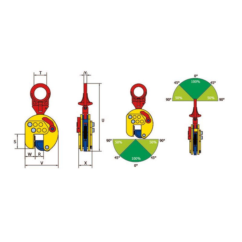 Sketch for the vertical lifting clamp TSEU-A