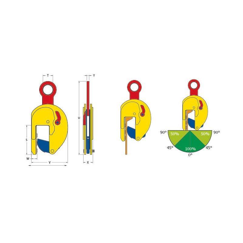 Skizze zur Vertikal Hebeklemme TSHP / TSHP-A