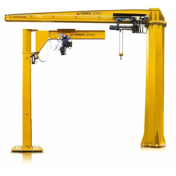 Example of electric and manual pillar slewing cranes